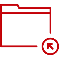 Line art image of a an arrow pointing into a folder