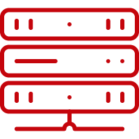 Line art image of a server stack